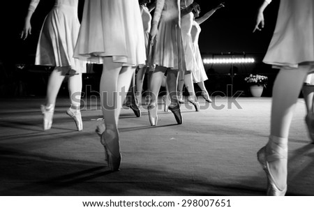 classical dance moves during an evening performance - stock photo