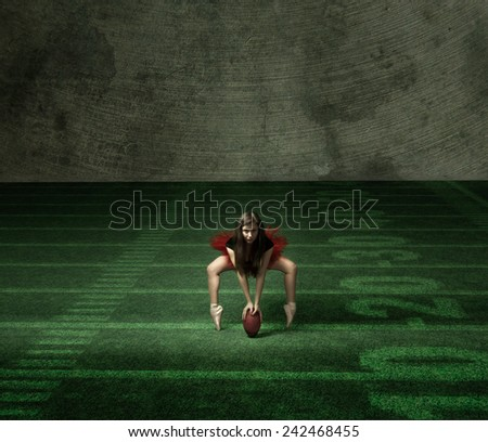 classical dancer like a football player - stock photo