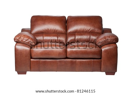 Classical  design and luxury style leather sofa bench isolated on white  - stock photo