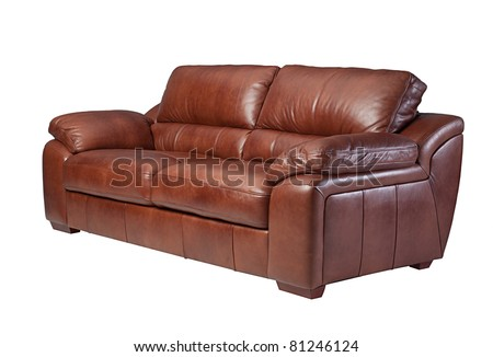 Classical  design and luxury style of the  leather sofa isolated  - stock photo