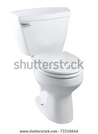 Classical  design of the sanitary toilet bowl isolated on white - stock photo