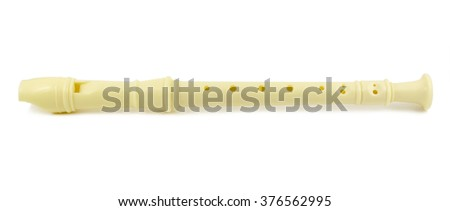 Classical flute isolated on white background. - stock photo