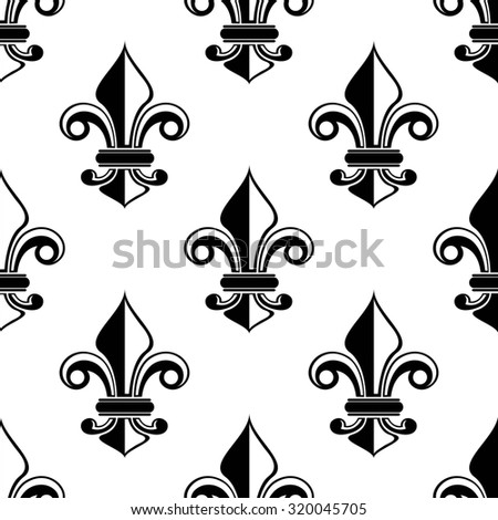 Classical French black and white fleur-de-lis seamless pattern with a repeat motif in square format suitable for wallpaper or fabric design - stock photo