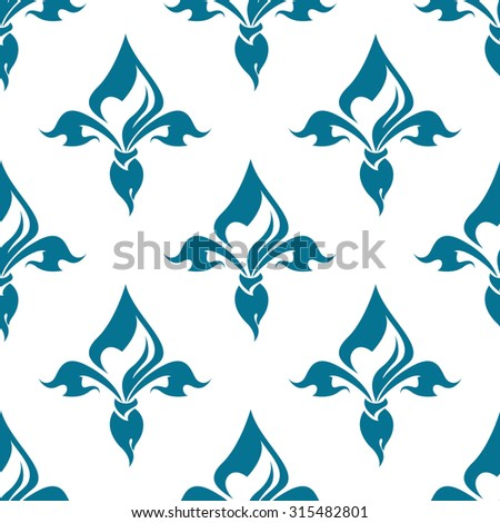 Classical French blue colored fleur-de-lis seamless pattern with a repeat motif in square format suitable for wallpaper, tiles and fabric design - stock photo