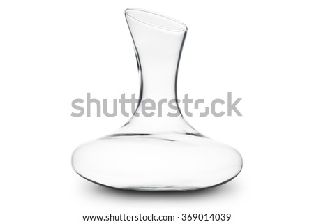 classical glass decanter for wine empty, on white background - stock photo