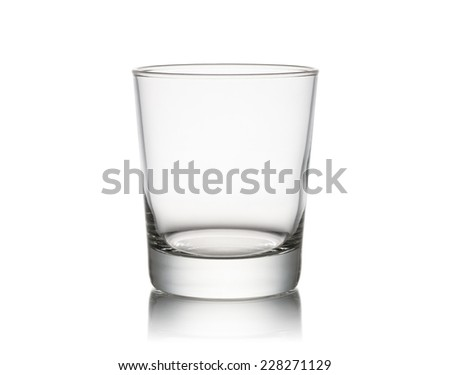 classical glass for water empty, on white background - stock photo