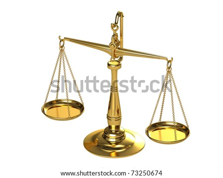 Classical gold scales on a white background. - stock photo