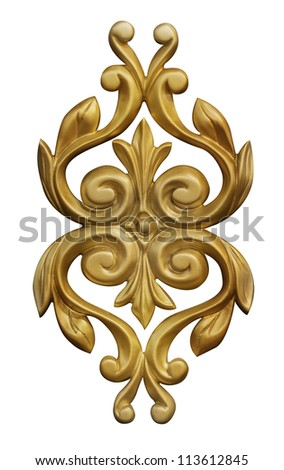 classical golden decor isolated - stock photo