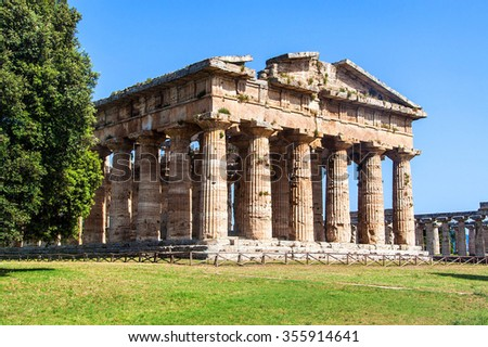 Classical greek temple at ruins of ancient city Paestum, Italy - stock photo