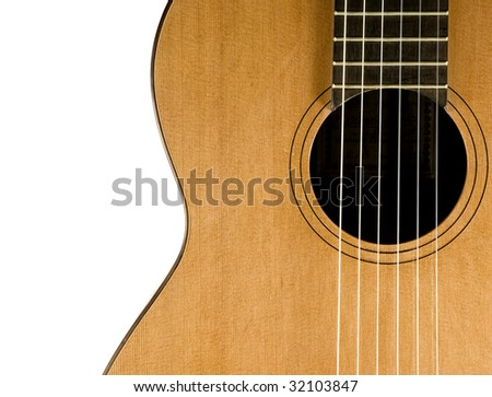 Classical guitar. Close up view. Nylon strings. Isolated on white background. - stock photo