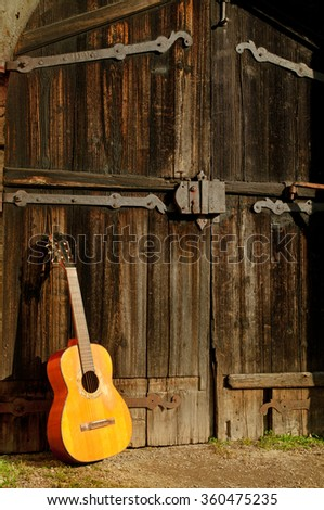 classical guitar in front of old wooden door 2