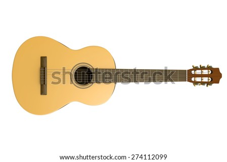 Classical Guitar Isolated on White Background 3D Photorealistic Illustration - stock photo