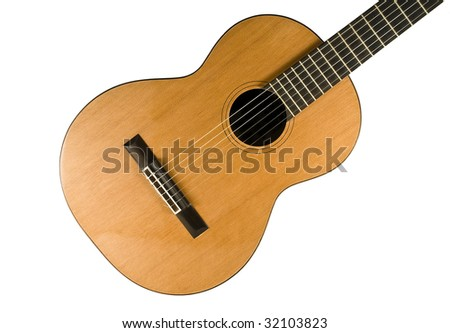 Classical guitar. Nylon strings. Isolated on white background. - stock photo