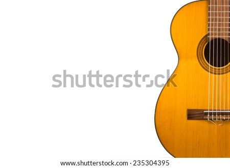 Classical guitar wallpaper isolated on white background for poster design - stock photo
