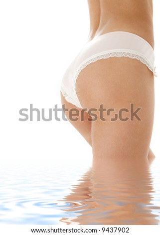 classical image of voluptuous woman back in water - stock photo