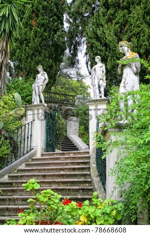 Classical inspired statues on the grounds of the Achillion Palace on the island of Corfu. - stock photo