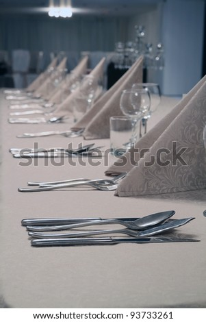 Classical interior, dining table in a luxury restaurant - stock photo