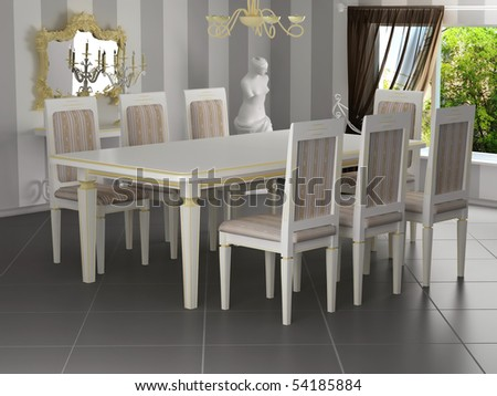 Classical interior, dining table with chairs, 3d rendering - stock photo