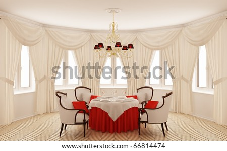 Classical interior of a dining room - stock photo