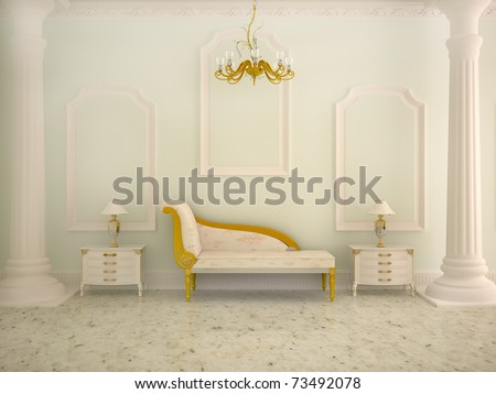 Classical interior of a hall - stock photo