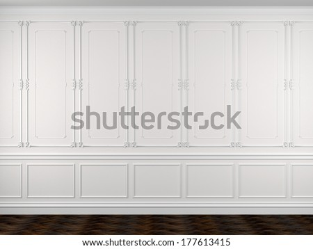 Classical interior of a white wall and a dark floor - stock photo