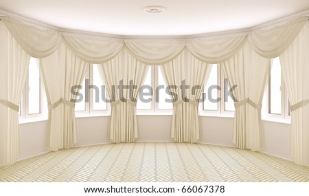 Classical interior with curtains - stock photo