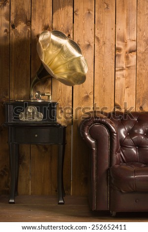 Classical interior with gramophone - stock photo