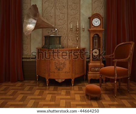 Classical interior with grandfather's clock and gramophone - stock photo