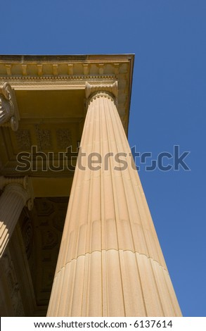 Classical Ionic Column detail in perspective towards blue sky. Art Gallery of NSW, Australia - stock photo