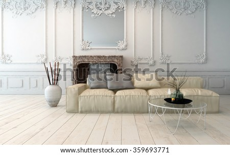 Classical light colored living room interior with decorative wooden wall panels, upholstered modular sofa and white painted hardwood floor. 3d rendering. - stock photo