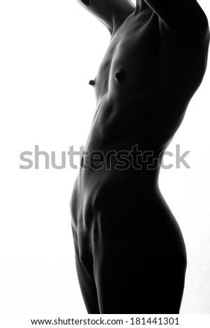 classical monochrome artistic nudity style picture of woman - stock photo
