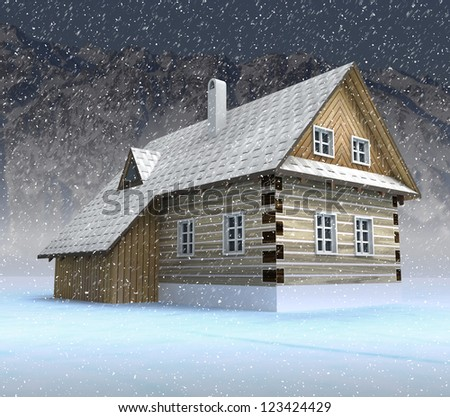 Classical mountain cabin at night snowfall illustration