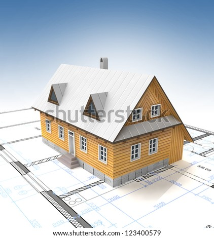 Classical mountain cottage with layout plan and clear sky illustration