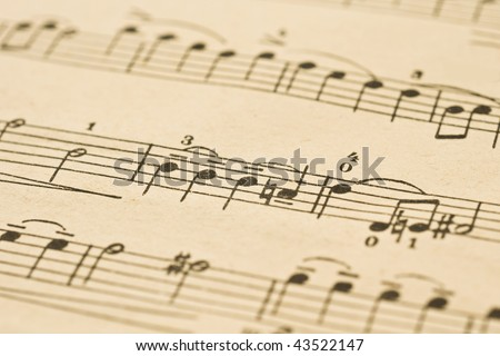 Classical Music - notes on the sheet (shallow DOF) - stock photo