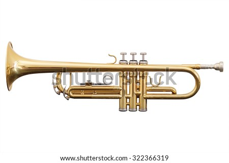 classical music wind instrument trumpet - stock photo