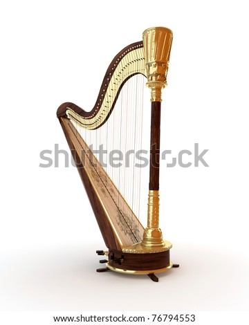 Classical musical instrument harp on a white background - stock photo