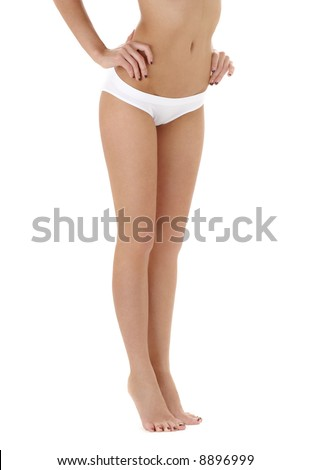 classical picture of long legs in white bikini panties - stock photo