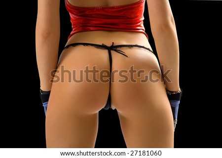 classical pin-up image of girl bum on black background - stock photo