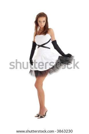 classical pin-up image of pretty lady in black and white dress - stock photo