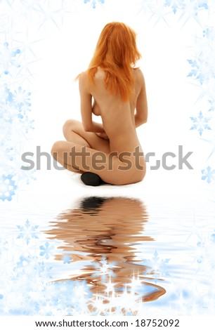 classical pin-up picture of naked redhead in black shoes - stock photo