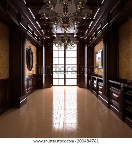 Classical Reading room. Classical interior - stock photo