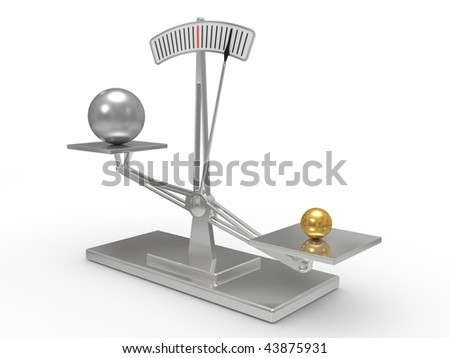 Classical scales with cargo on bowls, the interaction concept - stock photo