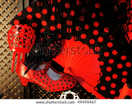 classical set of subjects for the Spanish national dance flamenco - stock photo