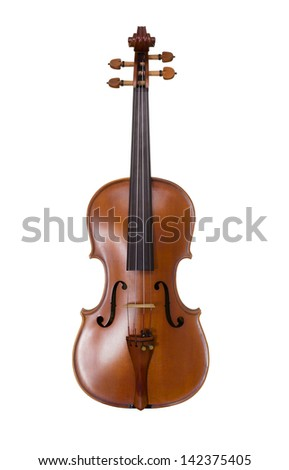 Classical shape wood vintage violin instrument - isolated on white background - stock photo