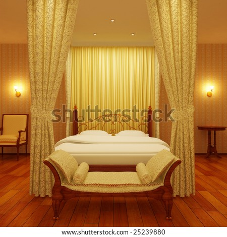 Classical sleeping room - stock photo