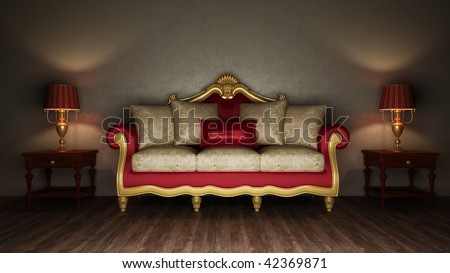 Classical sofa and two desk lamps - stock photo