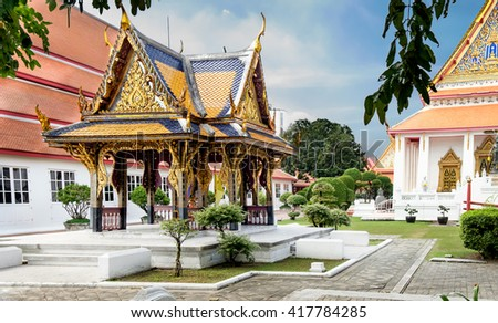Classical Thai  architecture in National Museum of Bangkok, Thailand. The Bangkok National Museum is the main branch museum of the National Museums and the largest museum in Southeast Asia. - stock photo