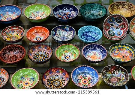 Classical Turkish ceramics on the Istanbul Grand Bazaar - stock photo