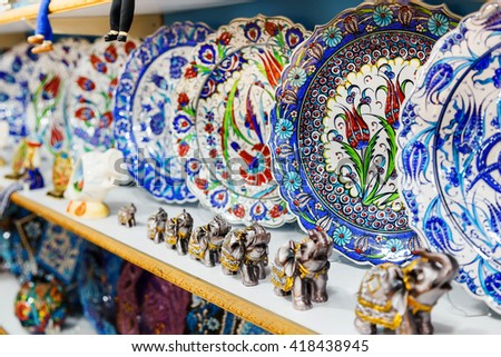 Classical Turkish ceramics on the market - stock photo