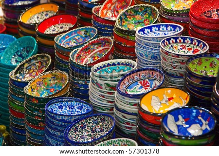 Classical Turkish ceramics on the market - stock photo